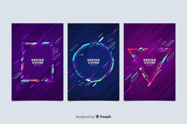 Collection de couvertures à effet glitch abstrait Vecteur gratuit