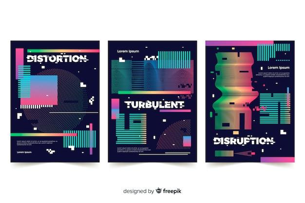 Collection de couvertures avec effet glitch coloré Vecteur gratuit