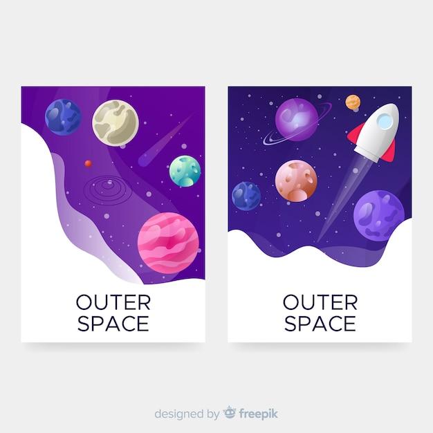 Collection de couvertures d'espace extra-atmosphérique Vecteur gratuit