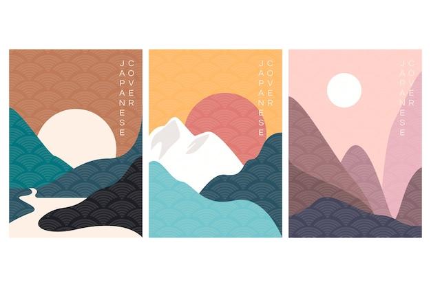 Collection De Couvertures Japonaises Minimales Vecteur gratuit