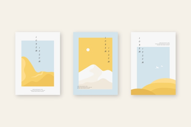 Collection De Couvertures Japonaises Minimalistes Vecteur gratuit