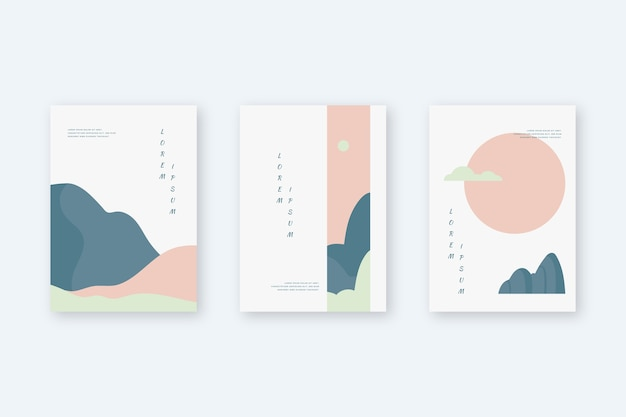 Collection De Couvertures Japonaises Minimalistes Vecteur gratuit