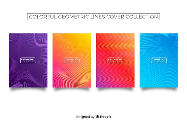 Collection de couvertures de lignes géométriques colorées Vecteur gratuit
