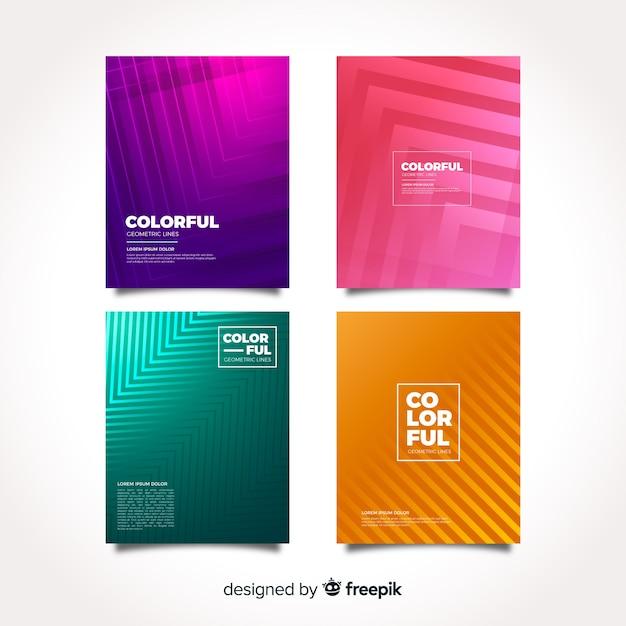 Collection de couvertures de lignes géométriques Vecteur gratuit