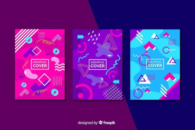 Collection de couvertures memphis dans les tons rose et violet Vecteur gratuit
