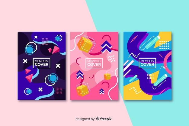 Collection de couvertures memphis avec effets d'aquarelle Vecteur gratuit