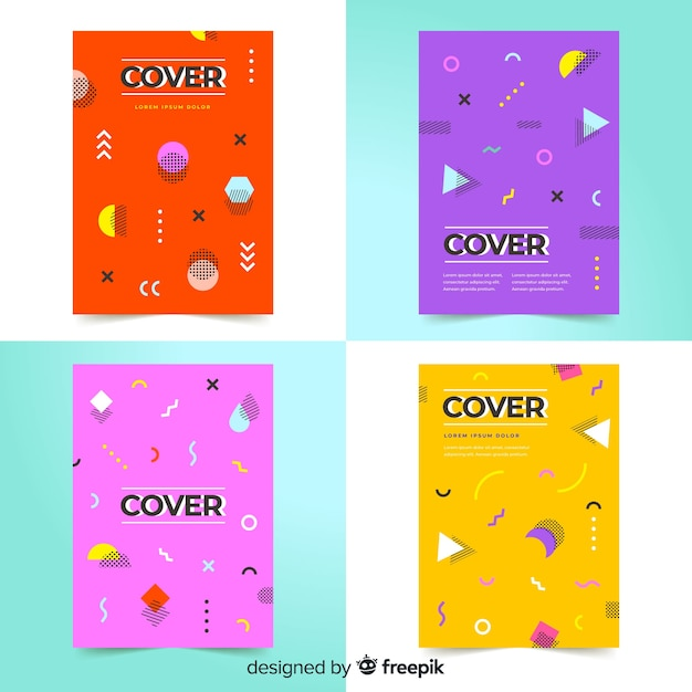 Collection de couvertures de memphis Vecteur gratuit