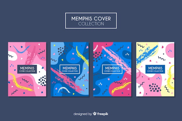 Collection de couvertures de memphis Vecteur gratuit