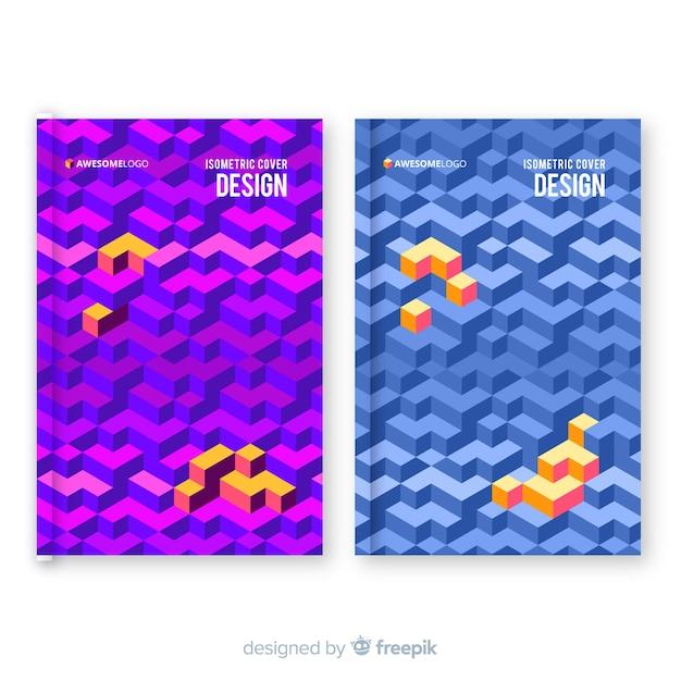 Collection de couvertures de motifs isométriques Vecteur gratuit
