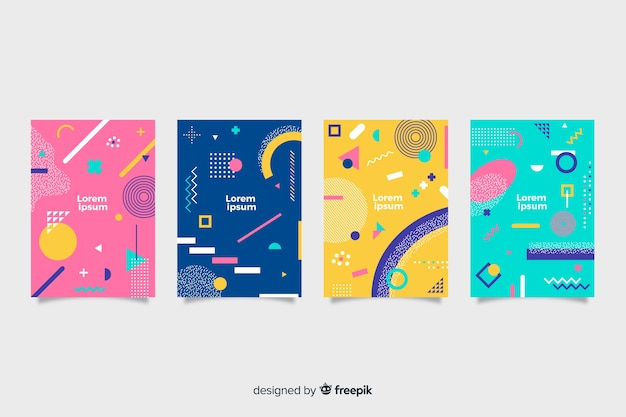 Collection de couvertures style memphis abstraite Vecteur gratuit