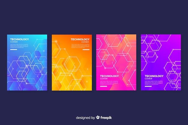 Collection de couvertures de technologie colorée gradient Vecteur gratuit