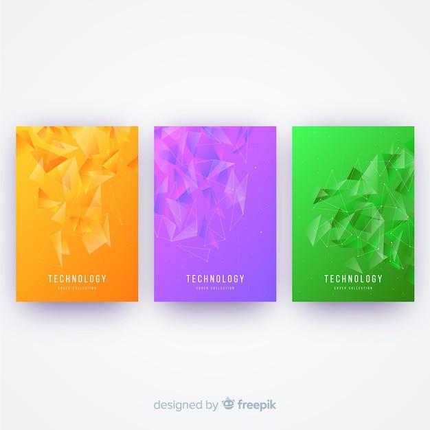 Collection de couvertures technologiques colorées Vecteur gratuit