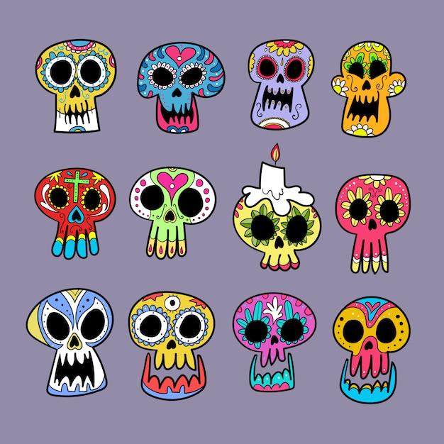 Collection de crânes dia de muertos. Vecteur Premium