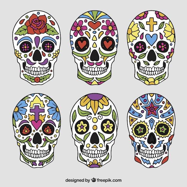 Collection de crânes mexicains Vecteur gratuit