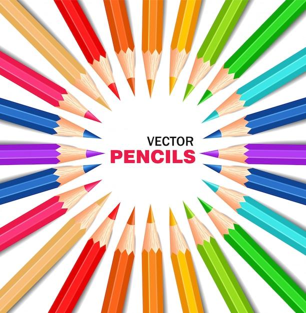 Collection de crayons colorés Vecteur Premium