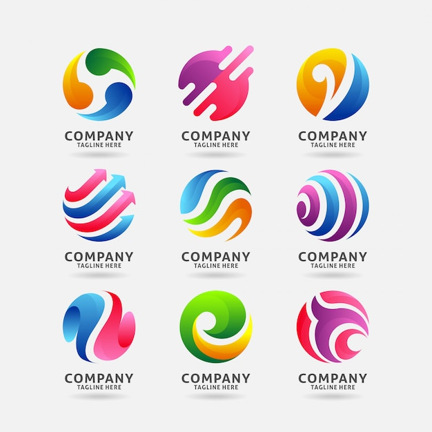 Collection de création de logo de cercle abstrait Vecteur Premium