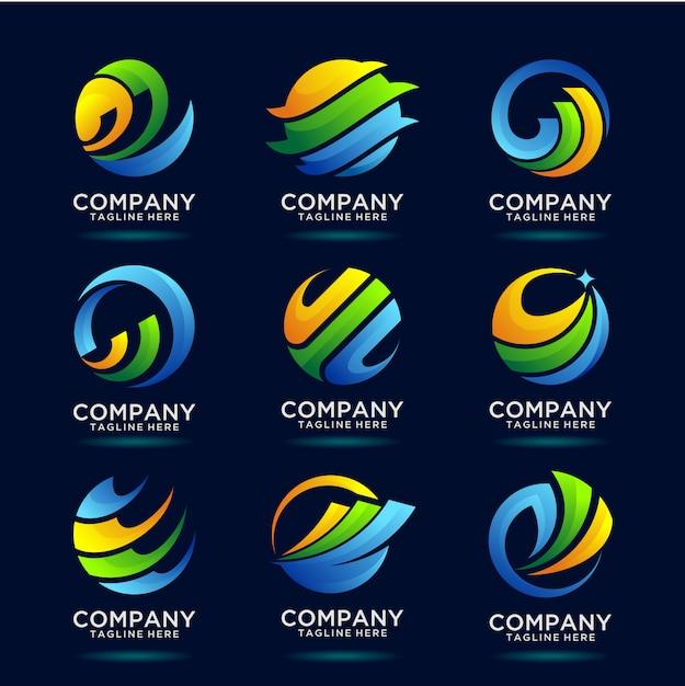 Collection De Création De Logo D'entreprise Financière Mondiale Vecteur Premium