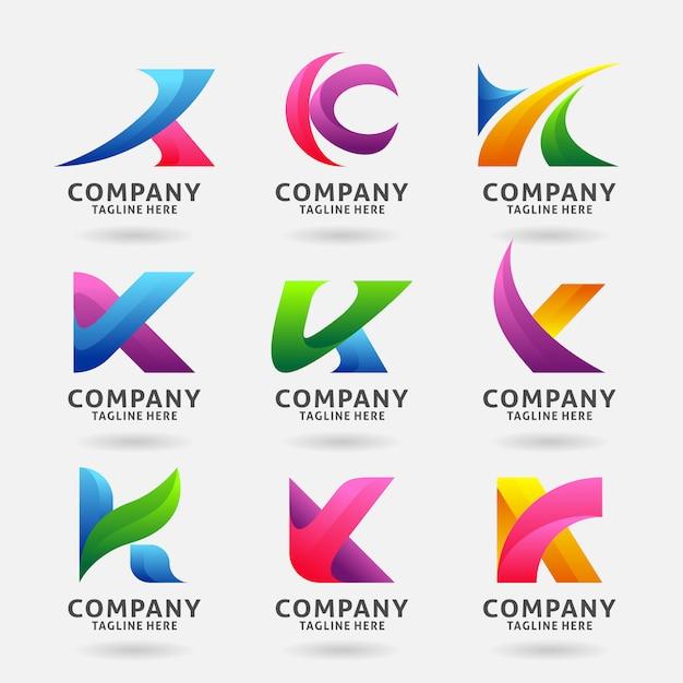 Collection De Création De Modèle De Logo Moderne Lettre K Vecteur Premium