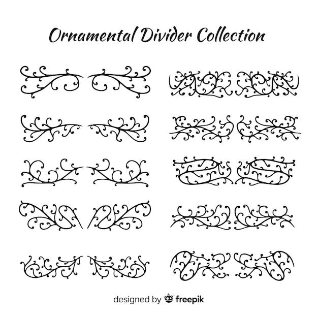 Collection créative de diviseurs d'ornement dessinés à la main Vecteur gratuit