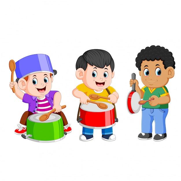 La collection créative des enfants qui jouent Vecteur Premium