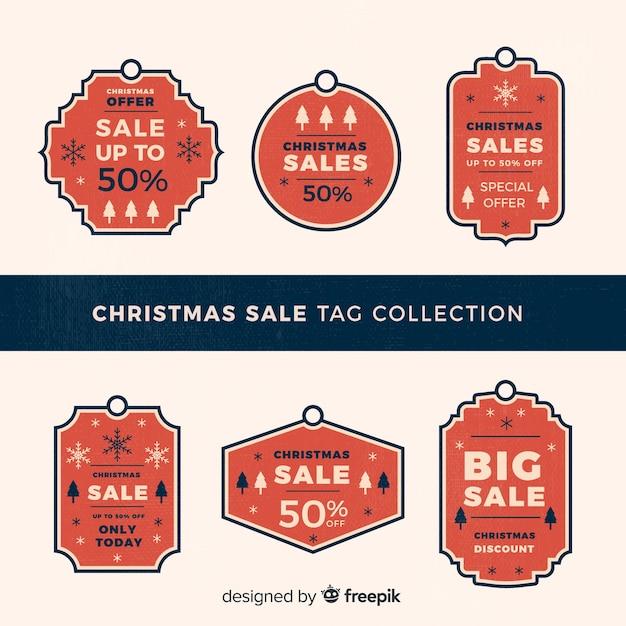 Collection créative d'étiquettes de vente de noël Vecteur gratuit