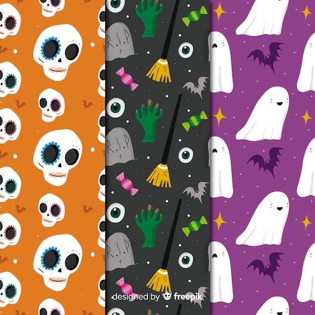 Collection de créatures avec motif d'halloween sans soudure Vecteur gratuit