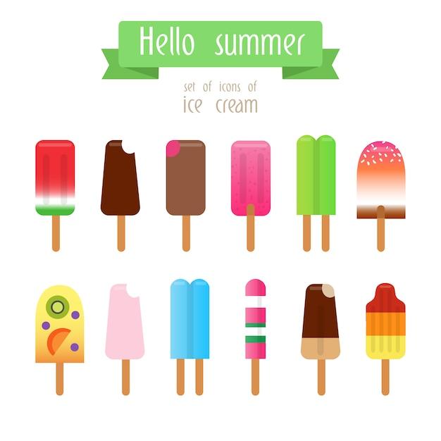 Collection de crèmes de glace Vecteur gratuit