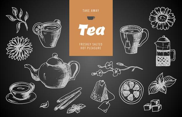 Collection de croquis dessinés à la main sur le thème du thé. Vecteur Premium