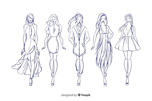 Collection De Croquis De Mannequins Vecteur Premium