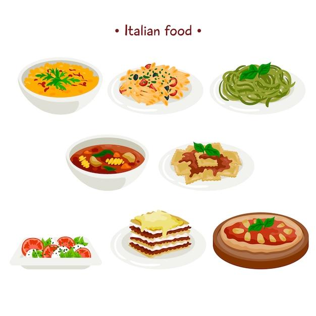 Collection de cuisine italienne Vecteur gratuit