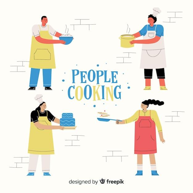 Collection de cuisine de personnes Vecteur gratuit