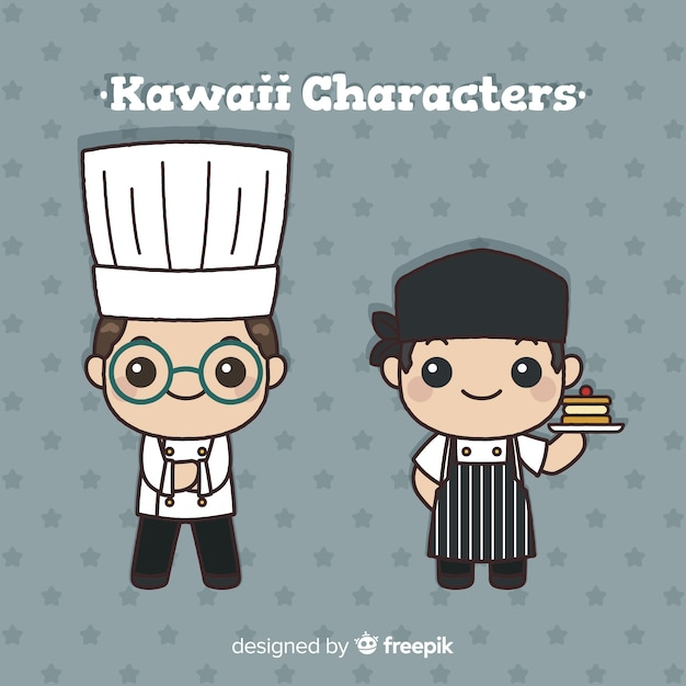 Collection de cuisiniers kawaii dessinés à la main Vecteur gratuit