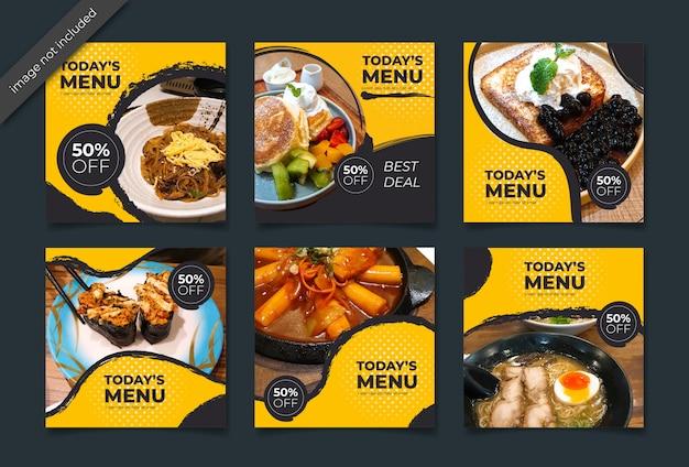 Collection Culinaire Instagram Post Ou Bannière Carrée Vecteur Premium
