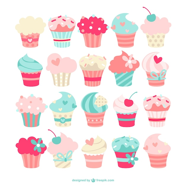 Collection Cupcakes Vecteur gratuit