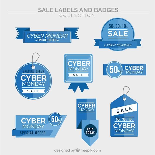 Collection de cyber lundi autocollants bleus Vecteur gratuit