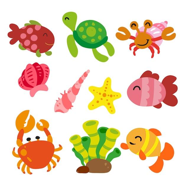 Collection d'animaux de mer Vecteur gratuit