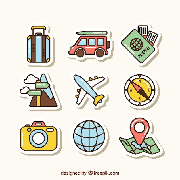 Collection d'éléments de voyage avec un design plat Vecteur gratuit