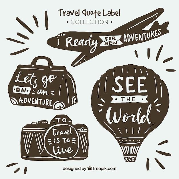 Collection d'étiquettes de citations de voyage vintage ...