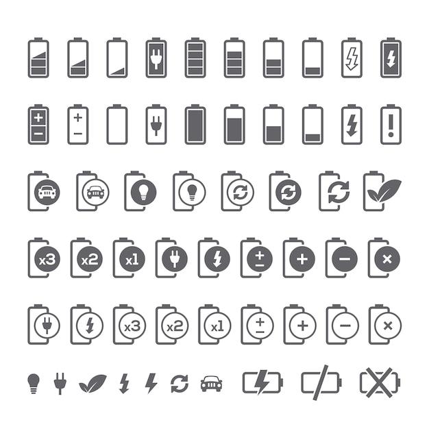 collection d'icônes de batterie Vecteur gratuit