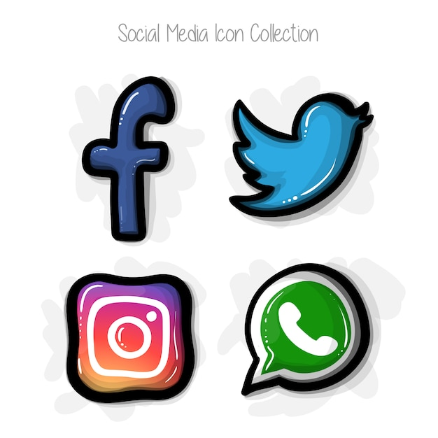 Collection d'icônes de médias sociaux style bande dessinée dessinée à la main Vecteur gratuit