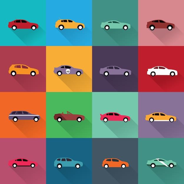 collection d'icônes de voiture Vecteur gratuit
