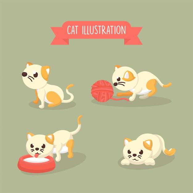 Collection d'illustrations de Poses de chat mignon dans un style Cartoon Vecteur Premium