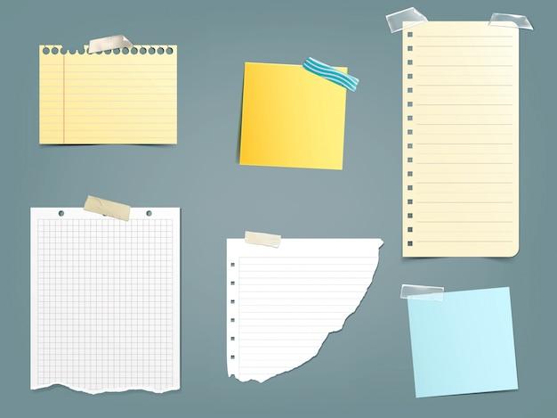 Collection d'illustrations vectorielles différentes notes papier Vecteur gratuit