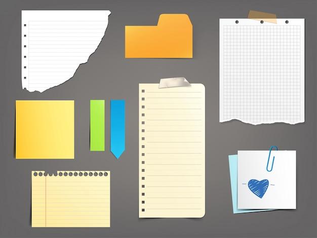 collection d 39 illustrations vectorielles notes papier de. Black Bedroom Furniture Sets. Home Design Ideas