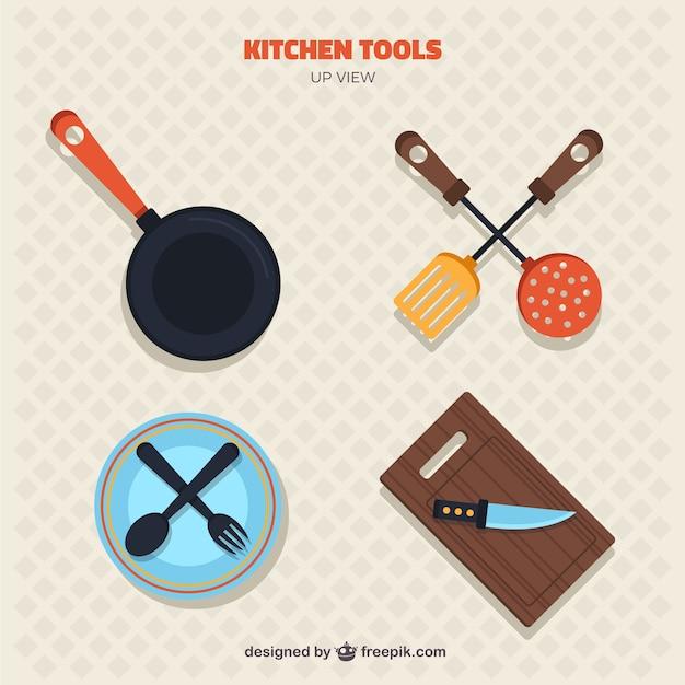 collection d 39 outils de cuisine en vue de dessus. Black Bedroom Furniture Sets. Home Design Ideas