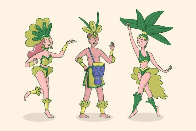 Collection De Danseurs De Carnaval Brésilien Vecteur gratuit