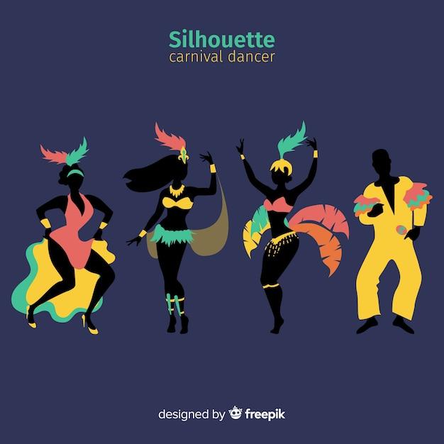 Collection de danseuse de carnaval brésilien dessinée à la main Vecteur gratuit
