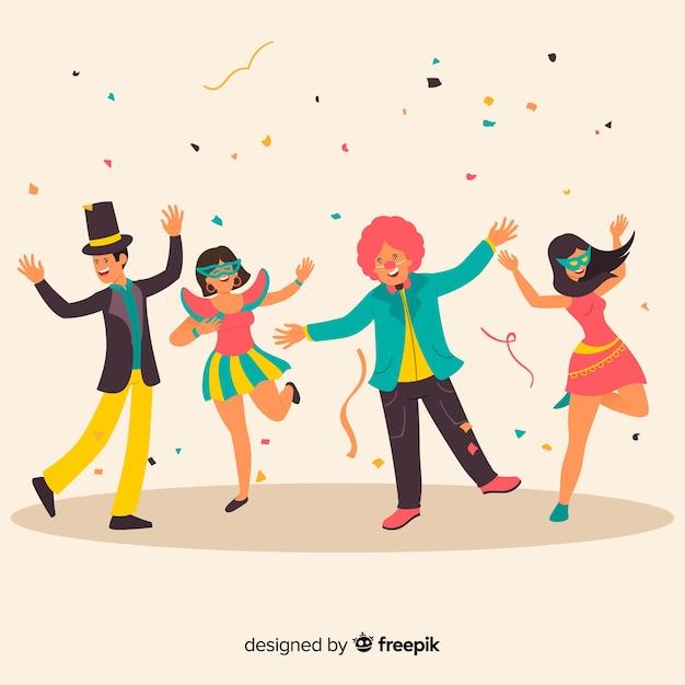Collection de danseuse de carnaval dessinée à la main Vecteur gratuit