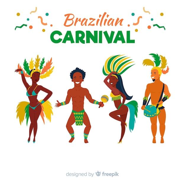 Collection de danseuses de carnaval brésilien Vecteur gratuit