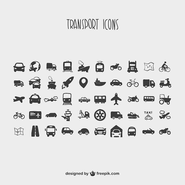 Collection de bande dessinée d'icônes de transport Vecteur gratuit